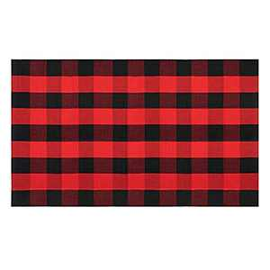 EARTHALL Buffalo Plaid Outdoor Rug Red 3'x 5', Cotton Hand-Woven Checkered Door Mat, Reversible Foldable Washable Red Outdoor Rug Stripe for Layered Door Mats Porch/Front Door (35.4''x59'')