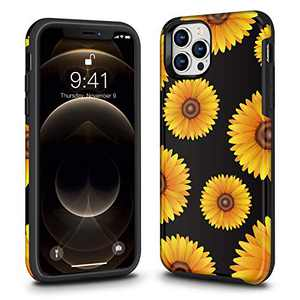 Ballaber New iPhone (2020) Pro Max Case for Women Flower Shell Rubber Full Body Protection Shockproof Protection Phone Case Cover for 12 Pro Max 2020 6.7 inch (Sunflower)