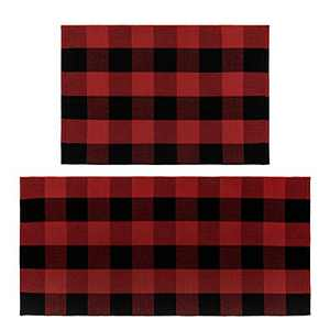 U'Artlines Buffalo Plaid Rug, Cotton Area Rug Checkered Plaid Doormat Kitchen Runner Washable Entryway for Bedroom, Kitchen, Laundry Room(2'x3'+2'x4.2', Black-Red)