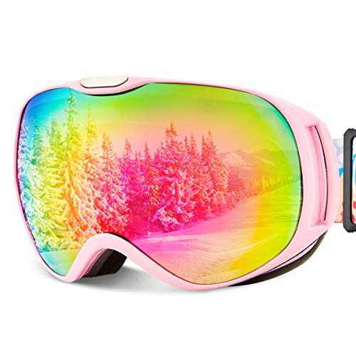 Ski Goggles Kid Snowboard Goggles Youth Winter Skiing Sport Goggles (PINK-kid-VLT23%)