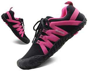 Weweya Five Fingers Shoes for Women Barefoot Shoes Work Out Minimalist Running Zero Drop Trail Runners Trekking Black Hot Pink US Size 5