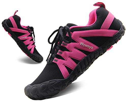 Minimalist Trail Running Shoes for Women Barefoot Shoes Breathable Lightweight Wide Toe Box Sneakers Black/Hot Pink Size 38