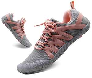 Barefoot Shoes for Women Workouts Wide Width Shoes Women's Track Field Cross Country Shoes Comfortable 5 Toe Shoes Minimalist Running Outdoor Arch Support Gray Pink US Size 6