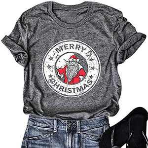 Merry Christmas T Shirt Women Casual Short Sleeve Santa Claus Graphic Tees Tops (Grey, L)