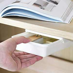 Sheebo Under Desk Drawer Self-Adhesive Storage Organizer Tray Set for Office, Kitchen – Additional Drawers for Desk, Table, Cabinet, Wardrobe (Small)