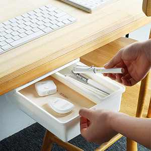 Sheebo Under Desk Drawer Self-Adhesive Storage Organizer Tray Set for Office, Kitchen – Additional Drawers for Desk, Table, Cabinet, Wardrobe (Median)