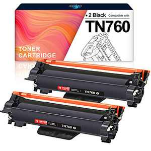 H&BO TOPMAE Compatible Toner Cartridge Replacement for Brother TN760 TN 760 TN730 to Use with HL-L2350DW HL-L2395DW HL-L2390DW HL-L2370DW MFC-L2750DW MFC-L2710DW DCP-L2550DW (2 Black)