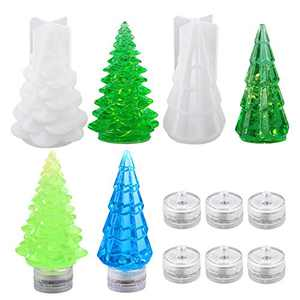 ORMAN 8Pcs DIY Candles Silicone Resin Molds, 2pcs Christmas Tree Mold, 6pcs Round Electronic Candlelight, for Women DIY Resin Casting Crafts