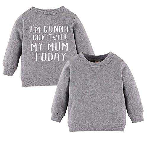 Toddler Baby Boys Girls Long Sleeve Shirts Letter Print Pullover Sweatshirt Tops Cotton Blouse Fall Winter Clothes(Grey, 12-18 Months(90))