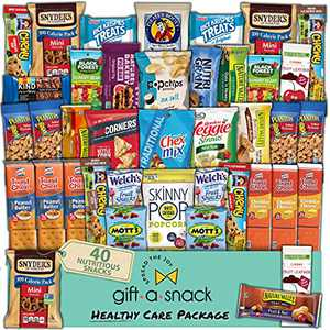 Healthy Snack Box Variety Pack (40 Count) Fathers Day Gift Basket - Graduation 2021 College Student Care Package, Crave Food Arrangement Nutritious Chips - Birthday Treat for Dad Women Men Adult Kid