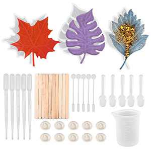 ORMAN 39Pcs DIY Coaster Silicone Mold, 3pcs Maple Leaf Coaster Mold, 1pcs 100ml Silicone Measuring Cup, Pack of 35 Silicone Toolset, for Casting with Resin, Concrete, Cement