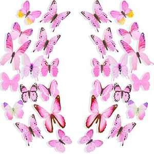 240 Pieces Pink Butterfly Wall Decals 3D Removable Butterfly Wall Stickers Mural Butterfly Decals Art for Living Room Bedroom Home Decor