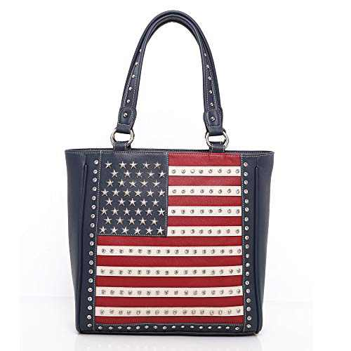 Montana West Women's American Pride Flag Tote Bags Large Patriotic Messeger Purse Concealed Carry Shoulder Handbags Navy ABU-US04G-8113NY
