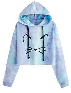 ROMWE Women's Casual Cat Print Long Sleeve Crop Top Sweatshirt Pullover Hoodies Blue XL