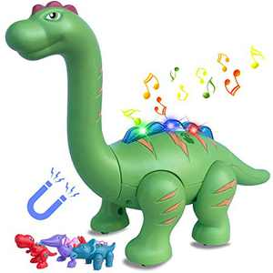 Dinosaur Toys for Boys Girls, Dinosaur Magnetic DIY Building Blocks, Brachiosaurus Dino Touch Recording Talking Repeat Toy with Sound & Flashing Light, Perfect Dino Gifts for Kids