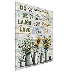 Inspirational Wall Art Sunflower Quote Canvas Live Laugh Love Flower Contemporary Painting Giclee Matte Prints Home Decor For Bathroom Bedroom Kitchen Living Room 16x20 Inch