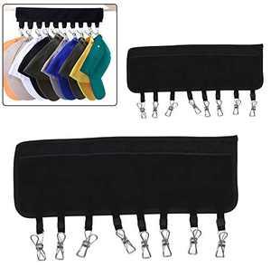 NILSTOREY Cap Organizer Hanger, 10 Clips Hat Hangers for Closet, Baseball Cap Holder for Closet (2PACK,Black)