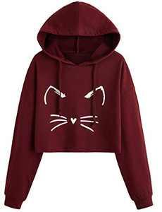 ROMWE Women's Casual Cat Print Long Sleeve Crop Top Sweatshirt Pullover Hoodies Burgundy L