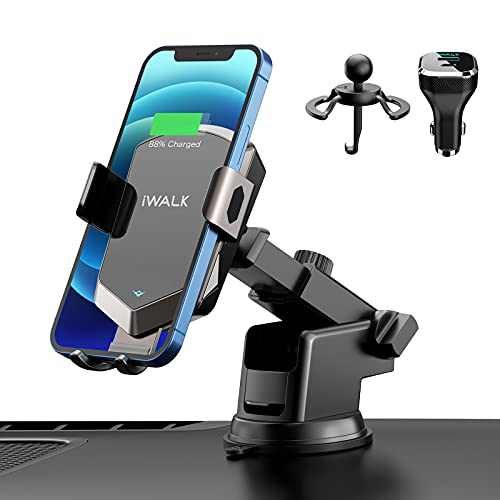 iWALK Wireless Car Charger Mount[with QC 3.0 Adapter], 15W Auto-Clamping Fast Charging, Dashboard Air Vent Phone Holder Compatible with iPhone 8/11/12/X/XR, Galaxy Note10/S10/S20 and More