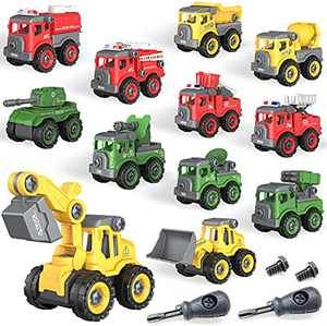Beyyon Take Apart Toys, 12-in-1 Construction Truck Toys Building Engineering Vehicle/Military Truck/Fire Truck, Birthday Gift Educational Toys for Kids 3+ Years Old, Take apart Construction Truck Toys