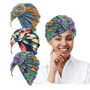 LUKACY African Pattern Headwrap 3 Pieces Pre-Tied Turbans for Women Beanie Cap Headwrap Hat (Multi Color)