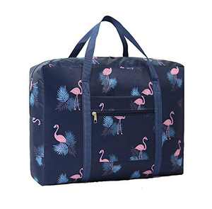 Nabegum Foldable Travel Duffel Bag Carry on Luggage Flamingo Gym Weekender Overnight Bag for Women and Girls