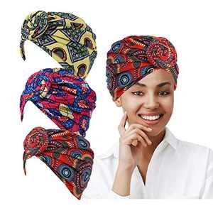 LUKACY African Pattern Headwrap 3 Pieces Pre-Tied Turbans for Women Beanie Cap Headwrap Hat (Yellow Purple red red)