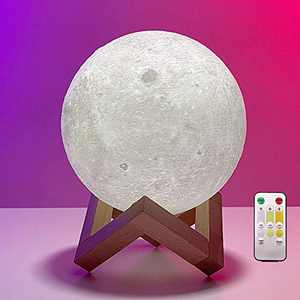 Moon Lamp, Pretty LED Night Light Ball, Remote Control or Touch Control Brightness and Color, 3 Colors and USB Rechargeable, 3D Printed Moon Light (5.9 inch)