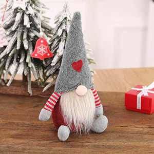 Swedish Tomte, Scandinavian Christmas Gnome Santa, Yule Nisse Plush Valentine's Day Ornaments Decorations for Holiday Seasons, Grey