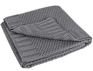 L'VOW Knit Baby Blanket Swaddle Wrap Warm Stroller Blankets for Newborn or Infant (Gray)