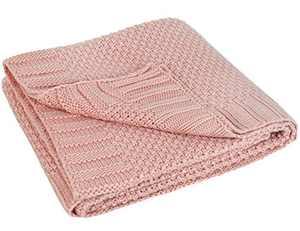 L'VOW Knit Baby Blanket Toddler Receiving Blankets for Infant Boys Girls Nursery Stroller 30x40 Inch (Pink)