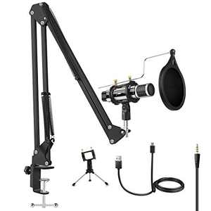 Microphone Bundle, ZealSound Condenser Mic Kit with Adjustable Suspension Scissor Arm, Metal Shock Mount Triple Stand for Music Recording Singing Garageband Smule YouTube Work with Phone & PC (Silver)