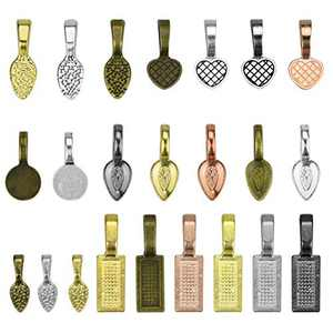 Lystaii 240pcs Small Pendant Bails Glue on Bail Tag Jewelry Bails Oval Scrabble Glue On Earring Bails Spoon Shape for Pendant Making Scrabble Or Glass Cabochon Tiles DIY Jewelry Connector Mix Color