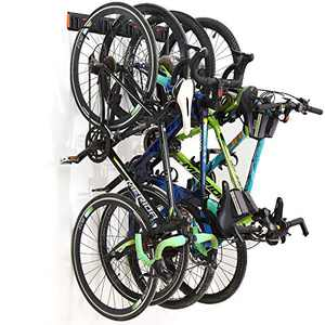 Homeon Wheels Bike Storage Rack,Wall Mount Bike Rack for Garage or Apartment Space, Adjustable Bikes Hooks, Suitable for Kids and Road Bikes, Holds 4 Bikes and Max-130 Ibs