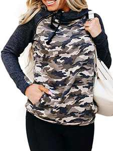 Womens Hoodies-Tops Camo Quarter Zip Pullover Sweatshirt Casual Long Sleeve Blouse Top Black Camouflage XL