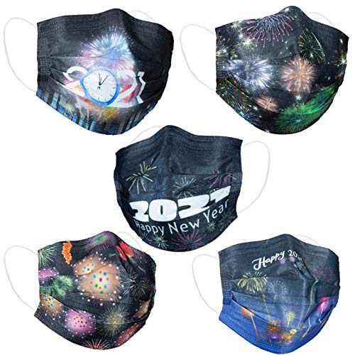 Disposable Face Masks with 2021 Happy New Year Eve Design Print,Adjustable Nose Clip,Breathable 3 PLY Mouth Safety Mask Cover Dustproof Protection for Festival Party Daily General Use Adults,50Pack