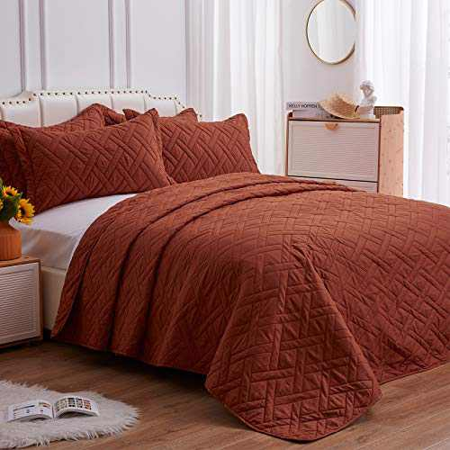 "SunStyle Home Quilt Set Umber Twin Size (68""x86"")- Rhomb Stitched Pattern Bedspread - Ultra Soft Luxurious Microfiber Lightweight Coverlet for All-Season, (1 Quilt, 1 Sham)"
