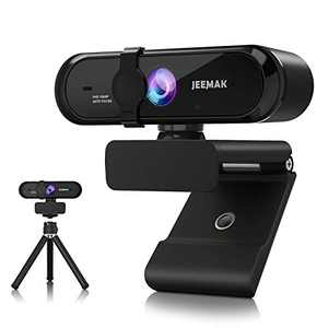JEEMAK Autofocus Webcam with Microphone for Desktop,1080P 30fps USB Web Camera with Privacy Cover and Tripod, Plug and Play for Skype/YouTube/Zoom/Facetime