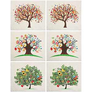 Mixed Trees Swedish Dishcloths Washable Reusable Absorbent Cleaning Cloth Set No Odor Cleaning Wipes Dish Towels for Kitchen Bar Counter (6)