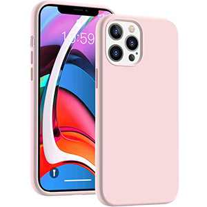 Cucell Compatible with iPhone 12 Pro Max Case 6.7 inch(2020),Liquid Silicone Gel Rubber Full Body Protection Cover Shockproof Durable Drop Proof Shell-Pink Sand
