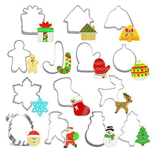 GiGimelon 14-Piece Christmas Cookie Cutters Set Stainless Steel in Gift Box, Easy To Use & Clean, Molds Xmas Tree, Snowman, Gingerbread Men, Snowflake, Jingle bell, Stocking Gift Idea