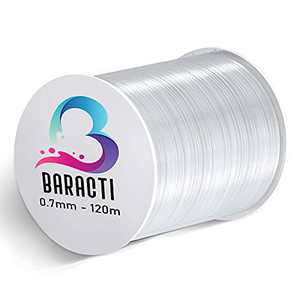 Baracti Elastic String for Bracelet 0.7mm Thick - 120 Meters Strong Stretchy Cord for Jewelry Making, Beading and Everyday Craft - Clear