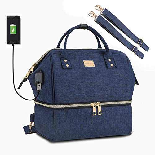 Weitars Lunch Bag for men women, Insulated Dual Compartment Lunch Box,Wide-Open Tote Cooler Bag with Shoulder Strap,Daytrip Packable Bag for Working Picnic Hiking Beach Fishing (Blue)