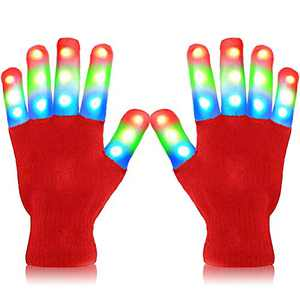 heytech Led Gloves Light-up Party LED Party Supplies Gloves Multicolor Led Glove for Halloween,, Dance Costumes, Kids Games, Light-up Party. (Red)