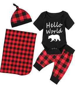 Shalofer Newborn Hello World Outfit Set Baby Boys Xmas Gift Pant Clothing Set with Blanket (Red,0-3 Months)
