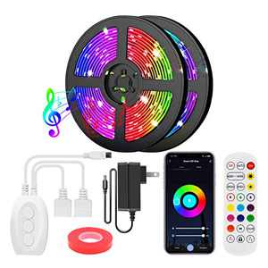 Smart Bluetooth LED Strip Lights 40FT with App Controller, RGB 5050 LED Tape Lights Color Changing Music Sync Lights with IR Remote & 12V UL Listed Adapter for Home Bedroom Kitchen TV Party Decoration