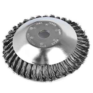 VARUN Lawn Rotary Steel Wire Brush Professional Round Head Weed Blade Trimmer Grass Cutter Accessories for Rust Removal,Paving Stone, Pavement Joints,Driveway (8 inch)