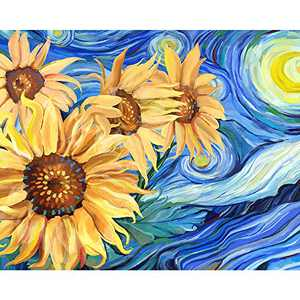 Talesay Paint by Numbers for Adults Beginner, Flower Oil Number Painting DIY Floral Acrylic Canvas Painting Kits, Sunflower Drawing Paintwork Art Craft (Starry Night Van Gogh, Frameless) 20x16 Inch