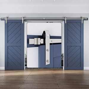 16 FT Brushed Nickel Double Door Sliding Barn Door Hardware Track Kit