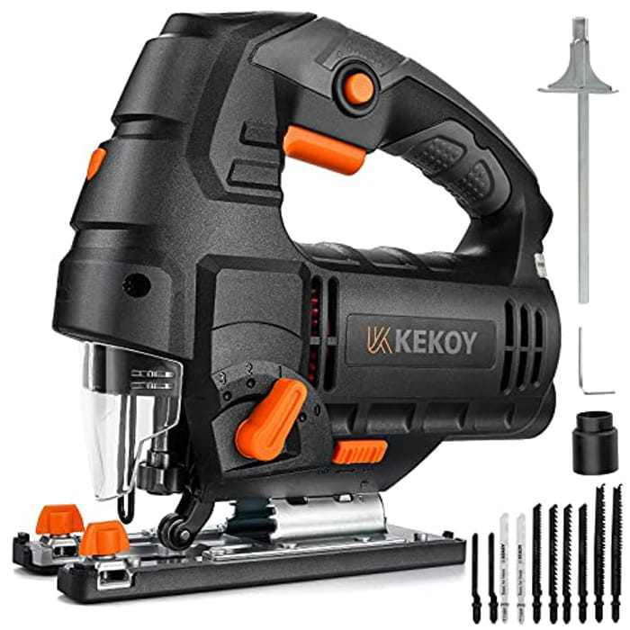 Jig Saw, 800W Electric Jig Saws with Powerful Copper Motor, 3000 SPM with 6 Variable Speed, 10 Piece T-Shank Blades, 4 Orbital Sets and 0°-45° Bevel Cutting, 3M Wire